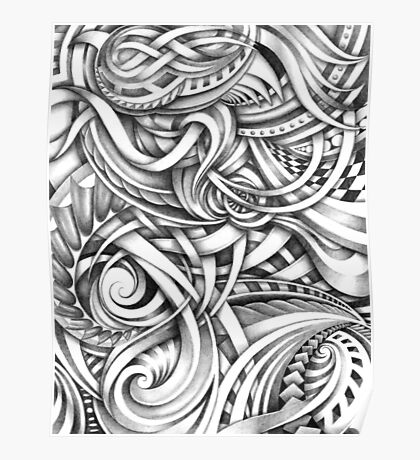 Escher Like Abstract Hand Drawn Graphite Gray Depth Poster