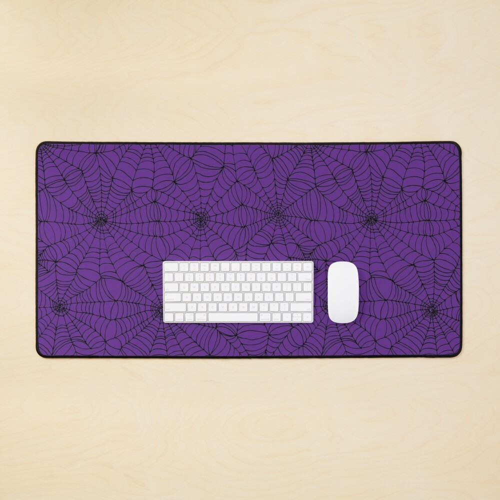 Spider web pattern - purple and black - Halloween pattern by Cecca Designs Mouse Pad