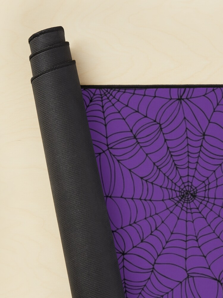 Alternate view of Spider web pattern - purple and black - Halloween pattern by Cecca Designs Mouse Pad