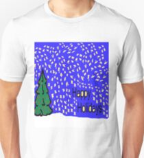 Christmas tree scene with stars and snow XMAS16   Unisex T-Shirt
