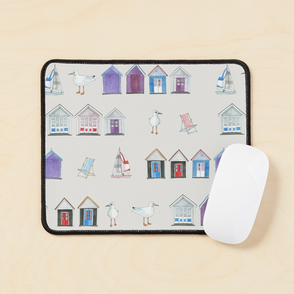 Beach Huts, Bournemouth - on grey - original watercolour pattern by Cecca Designs Mouse Pad