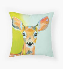 Wild Deer - Colourful Canadian Painting Throw Pillow