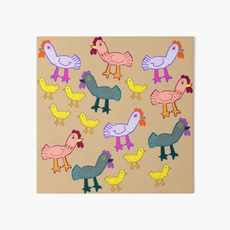 Busy Chickens Art Board Print