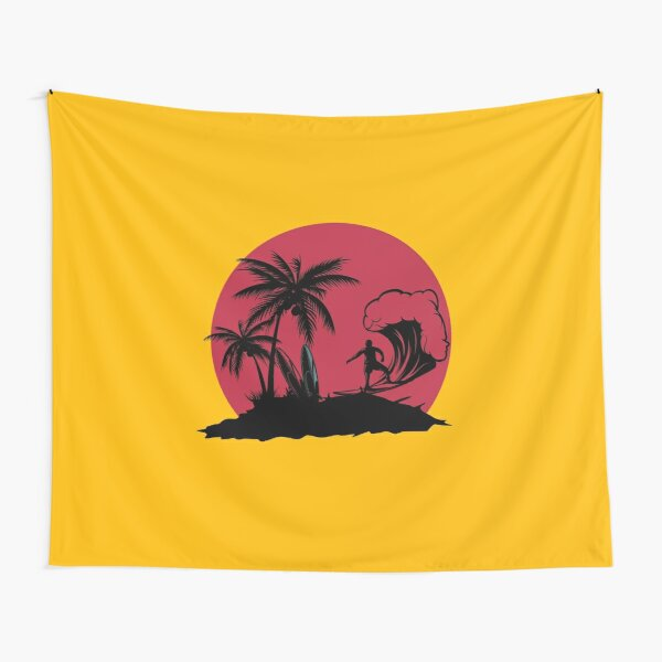Surfing Coconut Trees Black and Red  Tapestry