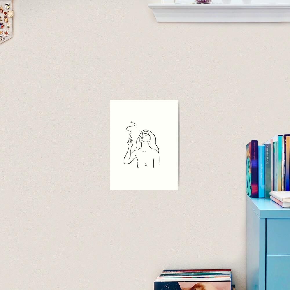 Smoking girl line art minimalist style sketch, white Art Print