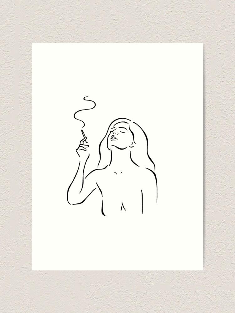 Alternate view of Smoking girl line art minimalist style sketch, white Art Print