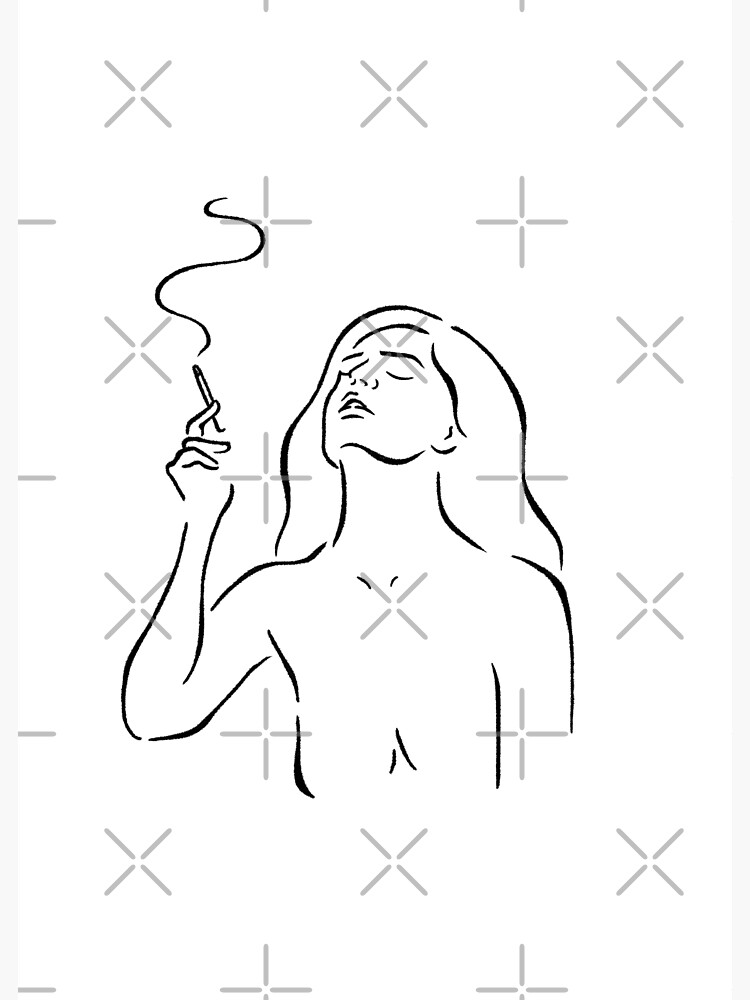Smoking girl line art minimalist style sketch, white by awhalesong