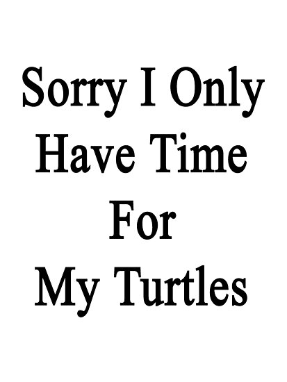 Sorry I Only Have Time For My Turtles  by supernova23