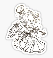 Cute Christmas  baby angel playing violin. Ink on old paper Sticker