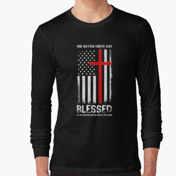 One Nation Under God Usa Patriot Veteran Chrisianity   Long Sleeve T-Shirt