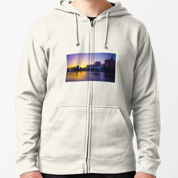 Backlit Along the Yarra - Melbourne, Victoria Zipped Hoodie