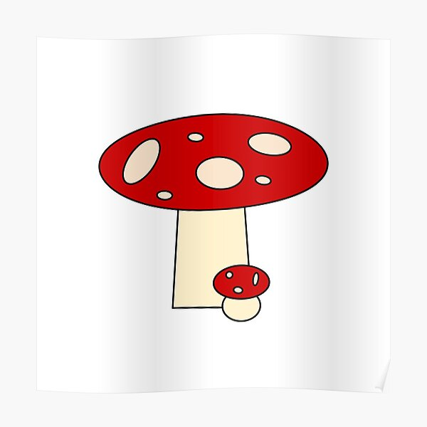 Big and small red mushrooms Poster