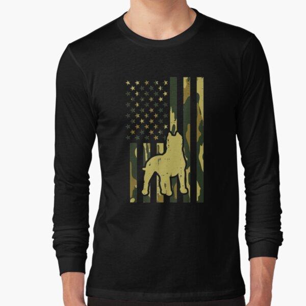 Camo Us Flag Pitbull Vintage Patriot Pittie Dog Lover Gift   Long Sleeve T-Shirt