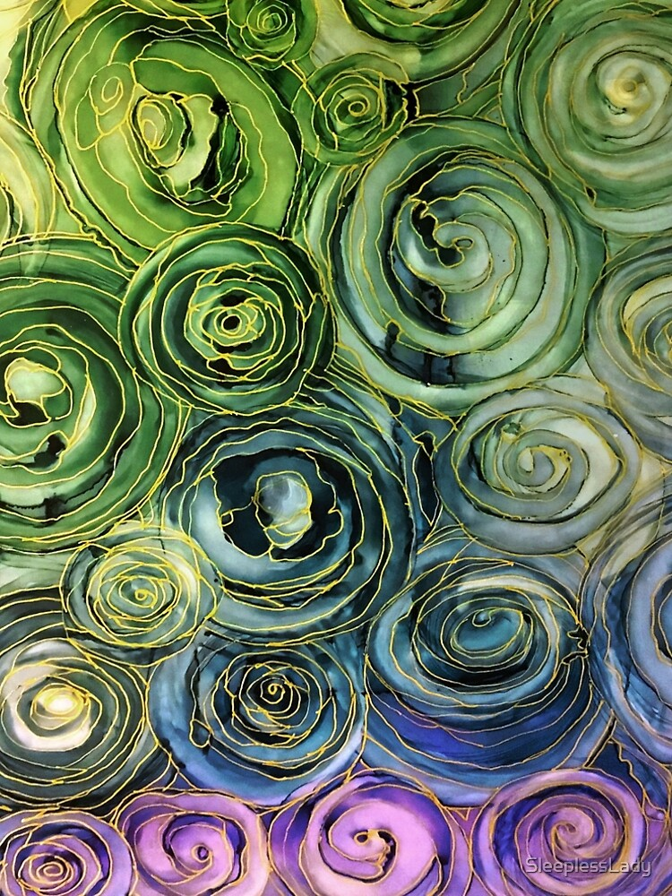 alcohol ink-Blue and gold, pen and ink by SleeplessLady