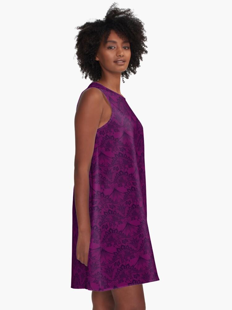 Alternate view of Stegosaurus Lace - Purple A-Line Dress