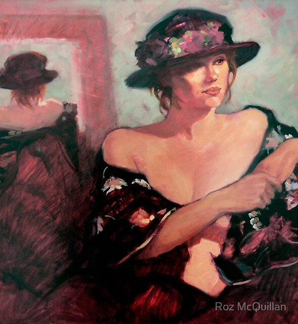 The Flower Hat : oil painting by Roz McQuillan