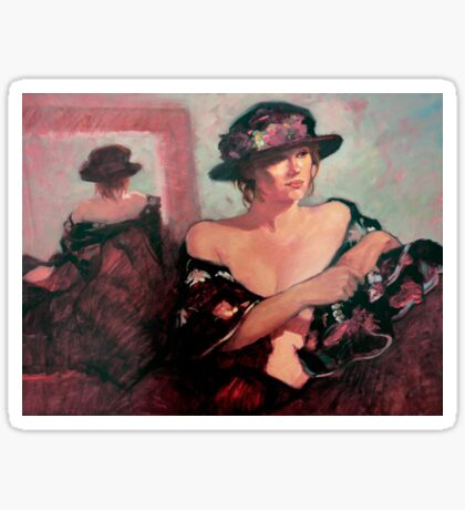 The Flower Hat : oil painting Sticker