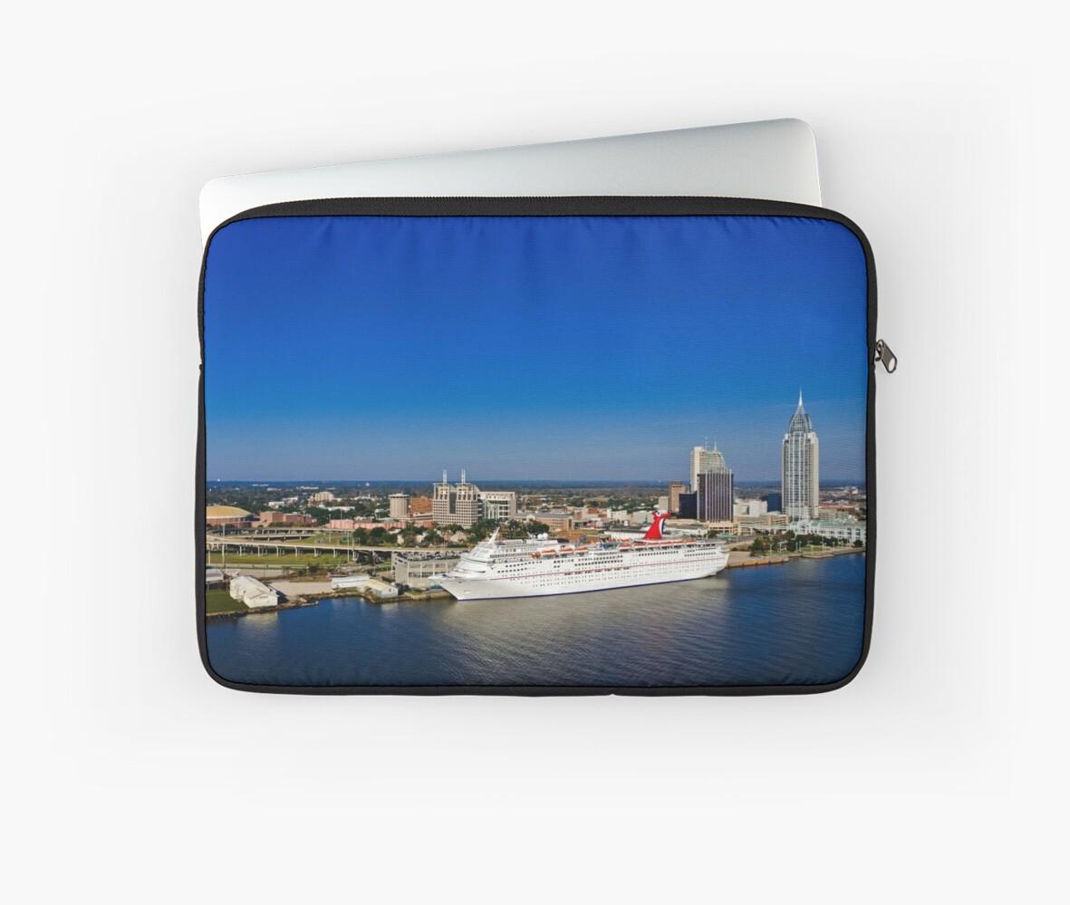Mobile Alabama Skyline With Cruise Ship Laptop Sleeves By Tad - Cruise ship mobile alabama