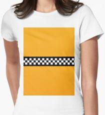 NY Taxi Cab Yellow mit Schwarz-Weiß-Check-Streifen Tailliertes T-Shirt für Frauen