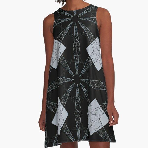 Geometric XXXIII (Blueprint) A-Line Dress