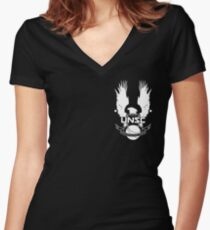 UNSC Insignia (White) Women's Fitted V-Neck T-Shirt