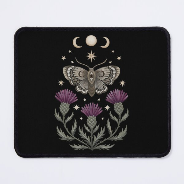 Thistle and moth Mouse Pad