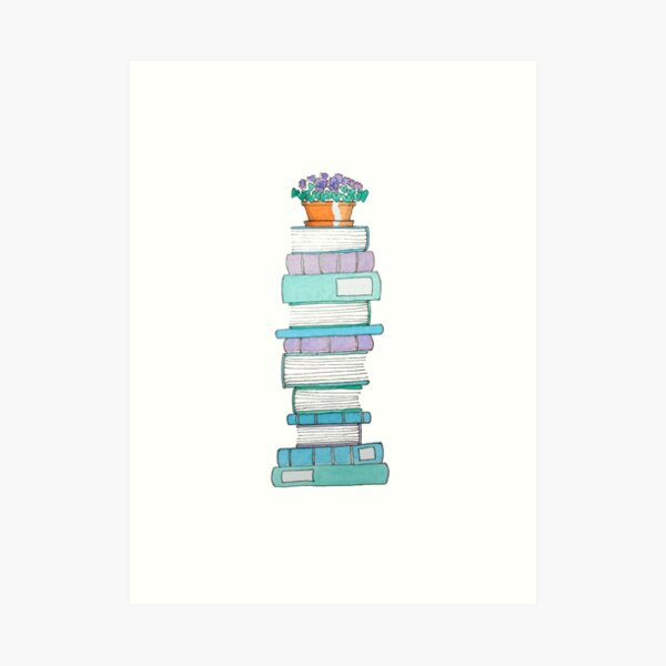 Book Stack with Violets Art Print