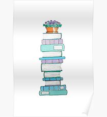Book Stack with Violets Poster