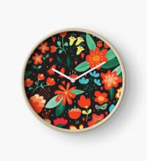 Flowers and hearts Clock