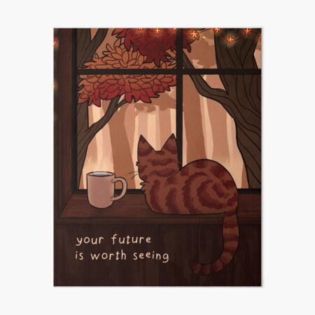 """Your Future is Worth Seeing"" Fall Kitty on the Windowsill Art Board Print"