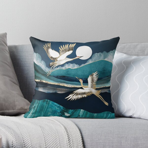 Midnight Cranes Throw Pillow
