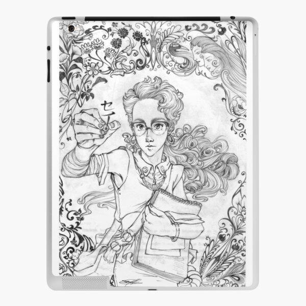 Girl writing in art noveaou frame iPad Skin