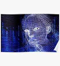 Woman digital face conceptual 3D illustration art photo print Poster