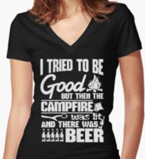 The Campfire Was Lit And There Was Beer T Shirt Women's Fitted V-Neck T-Shirt