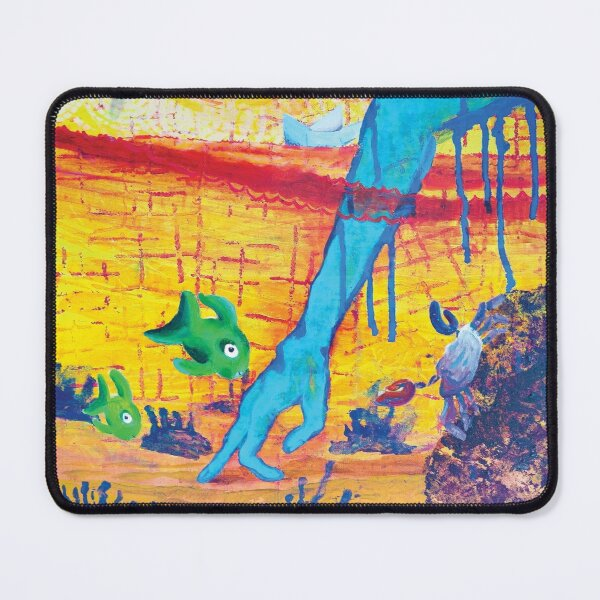 Walking Hand Underwater Invader Mouse Pad