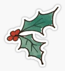 Hand-Painted Water Color Christmas Green Holly Sprig with Red Berries Sticker