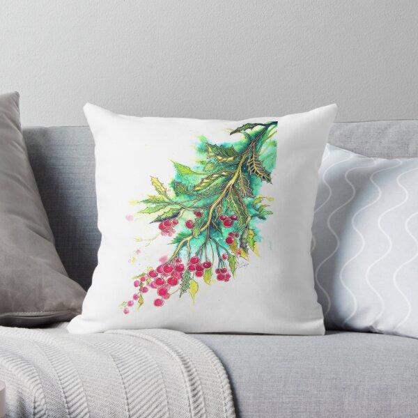Christmas Holly - T shirt Throw Pillow