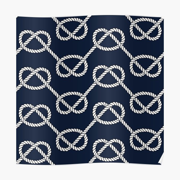 Nautical pattern with overhand marine knots Poster