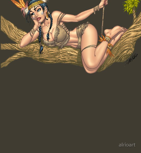 Native American Indian Pinup Girl by Al Rio by alrioart