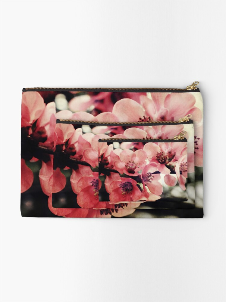 Alternate view of Japanese Quince - Single Branch Zipper Pouch