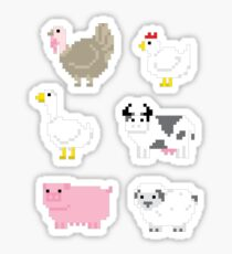 Farm animals pixel sticker set Sticker