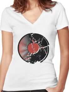 Music Vinyl Record Explosion Comic Style Women's Fitted V-Neck T-Shirt