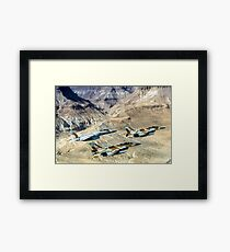 Israeli Air Force fighter jets flying over the Judea mountains Dead sea area Framed Print