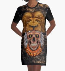 indian native lion head sugar Skull Graphic T-Shirt Dress