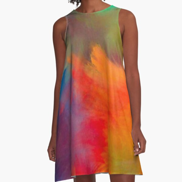 Abstract Colorful Paint Strokes A-Line Dress A-Line Dress