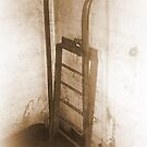 Battery Mishler ladder going nowhere, sepia by Dawna Morton