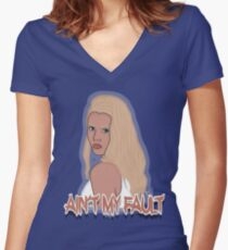 Ain't my fault - Color Blue Women's Fitted V-Neck T-Shirt
