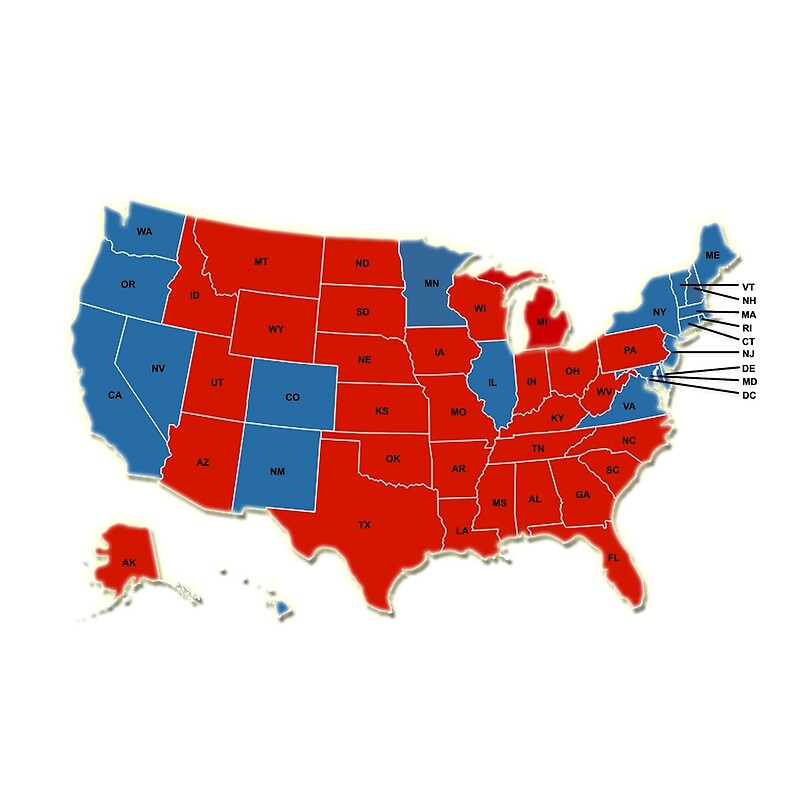Donald Trump 45th US President USA Map Election 2016 Canvas
