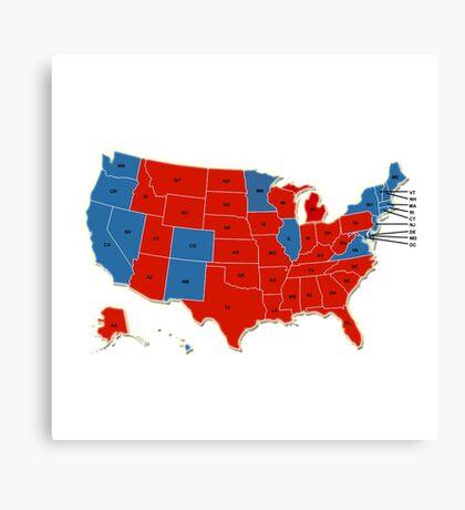Donald Trump 45th US President - USA Map Election 2016 Canvas Print