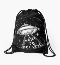 I want to believe Drawstring Bag